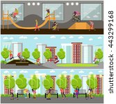 vector set of people on bicycle ... | Shutterstock .eps vector #443299168