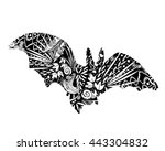 silhouette bat with patterns ... | Shutterstock .eps vector #443304832