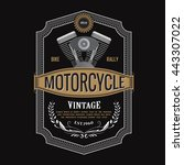 antique label design motorcycle ... | Shutterstock .eps vector #443307022
