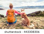 woman hiker looking at sea with ... | Shutterstock . vector #443308306