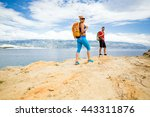 couple hikers walking on trail... | Shutterstock . vector #443311876