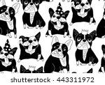 happy dogs group french bulldog ... | Shutterstock .eps vector #443311972