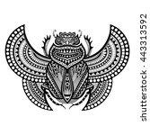 vector decorative monohrome... | Shutterstock .eps vector #443313592