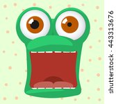 frog character is afraid with...