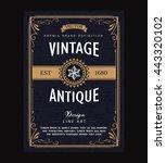 vintage frame border poster... | Shutterstock .eps vector #443320102