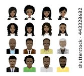 set of black women and man... | Shutterstock .eps vector #443328682