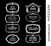 doodle vector frame set.ethnic... | Shutterstock .eps vector #443332696