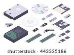 isometric flat digital memory... | Shutterstock .eps vector #443335186
