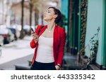 spectacular young brunette... | Shutterstock . vector #443335342