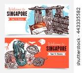 singapore hand drawn sketch...   Shutterstock .eps vector #443335582