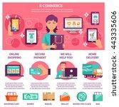 e commerce infographic flat set ... | Shutterstock .eps vector #443335606