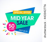 mid year sale paper banner... | Shutterstock .eps vector #443342776