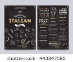 italian food restaurant menu... | Shutterstock .eps vector #443347582