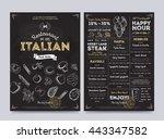 italian food restaurant menu... | Shutterstock .eps vector #443347582