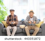 two joyful seniors playing... | Shutterstock . vector #443351872