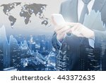 double exposure of businessman... | Shutterstock . vector #443372635