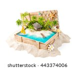 fantastic tropical island with... | Shutterstock . vector #443374006