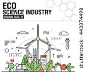 modern eco science industry.... | Shutterstock .eps vector #443374498