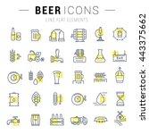 flat line illustration of beer... | Shutterstock .eps vector #443375662