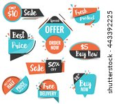 collection of sale discount... | Shutterstock .eps vector #443392225