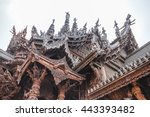roof detail of sanctuary of the ... | Shutterstock . vector #443393482