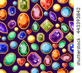 seamless pattern with jewels.... | Shutterstock .eps vector #443393842