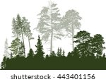 illustration with green forest... | Shutterstock .eps vector #443401156