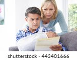 couple reading letter about... | Shutterstock . vector #443401666