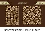 diy laser cutting set. woodcut... | Shutterstock .eps vector #443411506