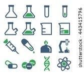 lab beakers icon set | Shutterstock .eps vector #443415796