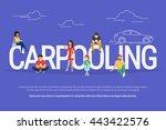 carpooling concept illustration ... | Shutterstock .eps vector #443422576