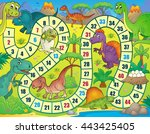board game with dinosaur theme... | Shutterstock .eps vector #443425405