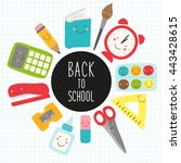 cute childish back to school... | Shutterstock . vector #443428615