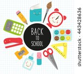 cute childish back to school... | Shutterstock .eps vector #443428636