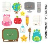 cute childish back to school... | Shutterstock . vector #443430502