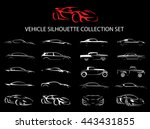 Stock vector concept supercar and regular motor car vehicle silhouette icon collection set vector illustration 443431855