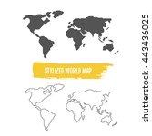stylized world map | Shutterstock . vector #443436025
