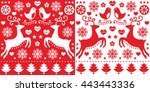 christmas red greetings card... | Shutterstock .eps vector #443443336