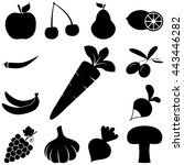 fruits and vegetables signs set.... | Shutterstock .eps vector #443446282