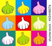 garlic simple icon. pop art...