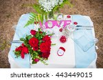 wedding table setting in nature.... | Shutterstock . vector #443449015