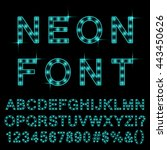 neon light font cyan color.... | Shutterstock .eps vector #443450626