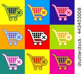 shopping cart and x mark icon ... | Shutterstock . vector #443453008