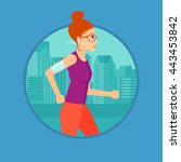 woman running with earphones... | Shutterstock .eps vector #443453842