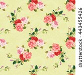 seamless floral pattern three... | Shutterstock .eps vector #443455426