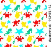 seamless sea pattern  crab ... | Shutterstock .eps vector #443458492