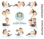 man symptoms and signs sleeping ... | Shutterstock .eps vector #443463982