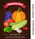fruits background in flat style.... | Shutterstock .eps vector #443471605