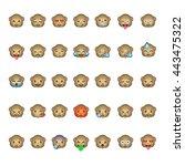 monkey emoticon smiley faces ... | Shutterstock .eps vector #443475322