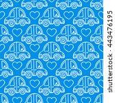 Cute Blue Seamless Pattern Of...